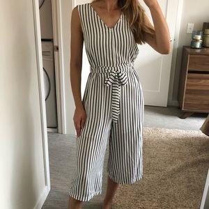 Glamorous black & white stripped jumpsuit romper